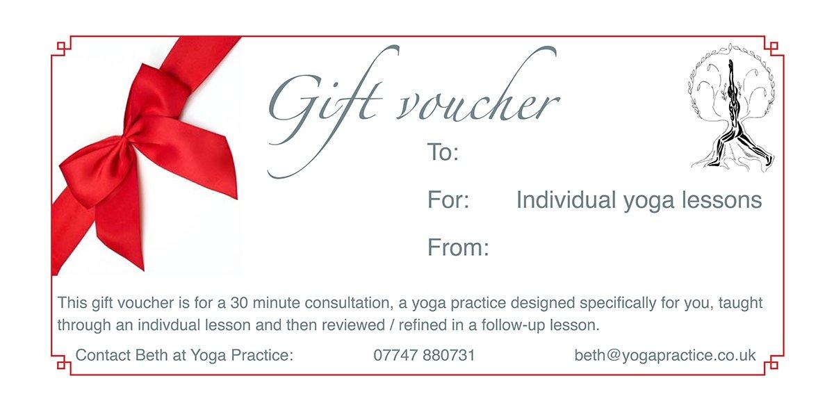 yoga practice gift voucher