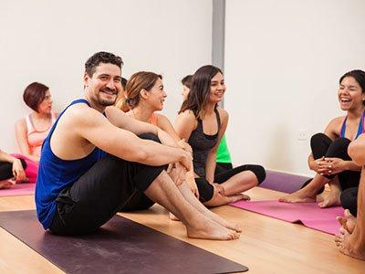 students resting after a yoga workshop